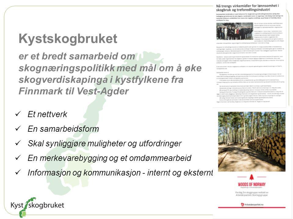 Kystskogbruket er et bredt samarbeid om skognæringspolitikk med mål om å øke skogverdiskapinga i kystfylkene fra Finnmark til Vest-Agder Et nettverk E