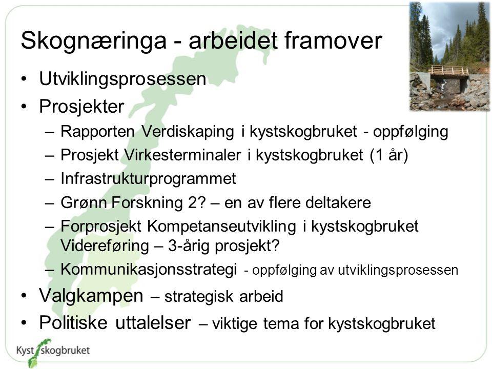 Skognæringa - arbeidet framover Utviklingsprosessen Prosjekter –Rapporten Verdiskaping i kystskogbruket - oppfølging –Prosjekt Virkesterminaler i kyst