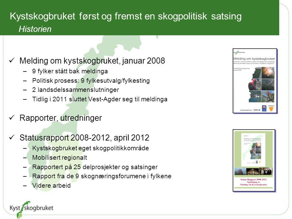 Melding om kystskogbruket, januar 2008 –9 fylker stått bak meldinga –Politisk prosess: 9 fylkesutvalg/fylkesting –2 landsdelssammenslutninger –Tidlig