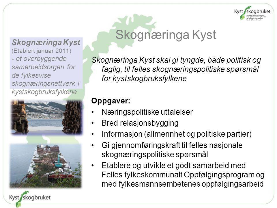 Skognæringa Kyst Skognæringa Kyst skal gi tyngde, både politisk og faglig, til felles skognæringspolitiske spørsmål for kystskogbruksfylkene Oppgaver: