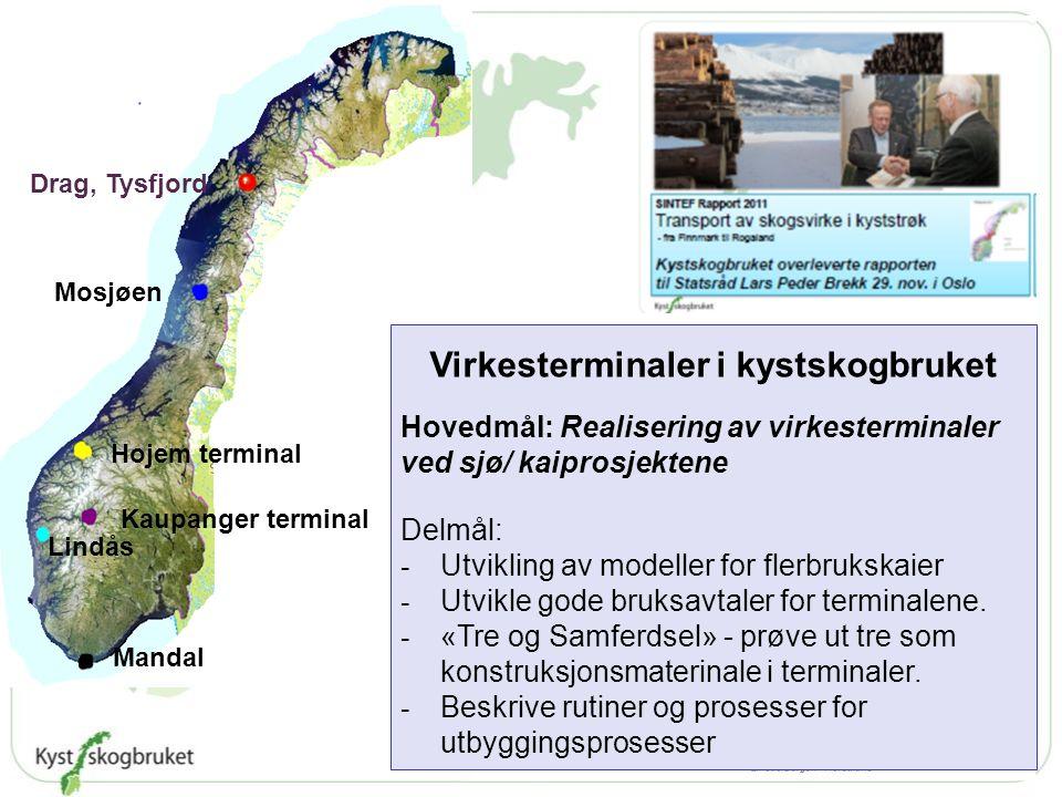 Mosjøen Hojem terminal Kaupanger terminal Lindås Mandal Drag, Tysfjord Virkesterminaler i kystskogbruket Hovedmål: Realisering av virkesterminaler ved