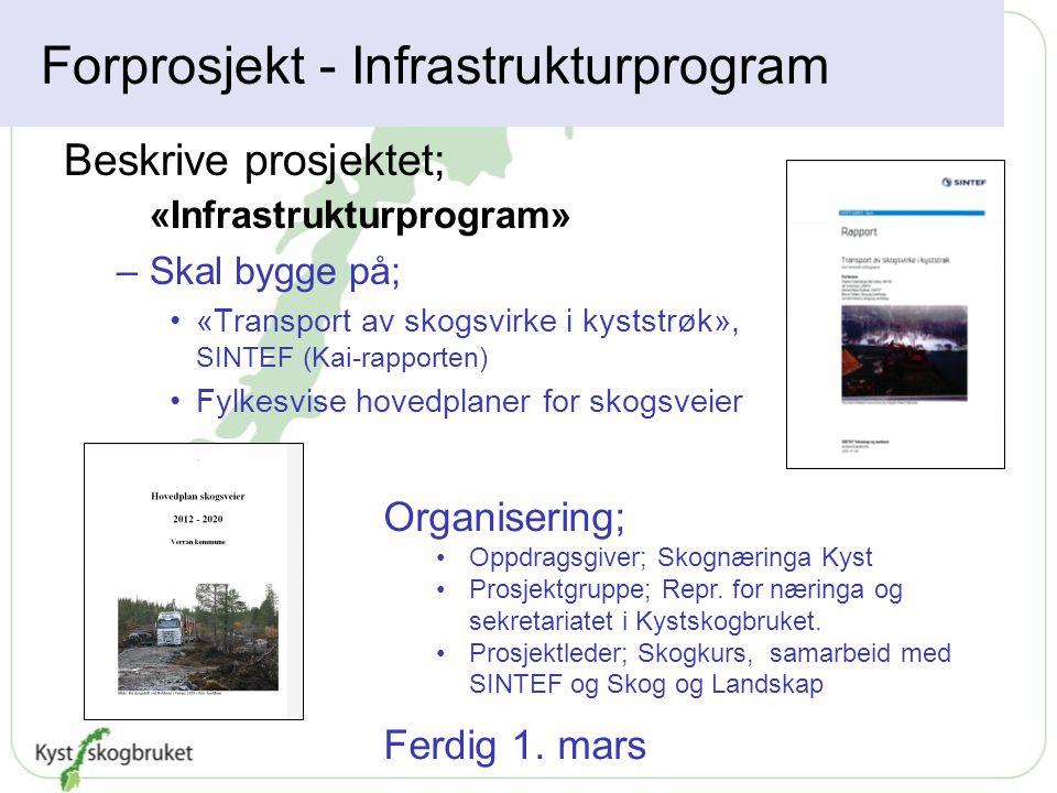 Forprosjekt - Infrastrukturprogram Beskrive prosjektet; «Infrastrukturprogram» –Skal bygge på; «Transport av skogsvirke i kyststrøk», SINTEF (Kai-rapp