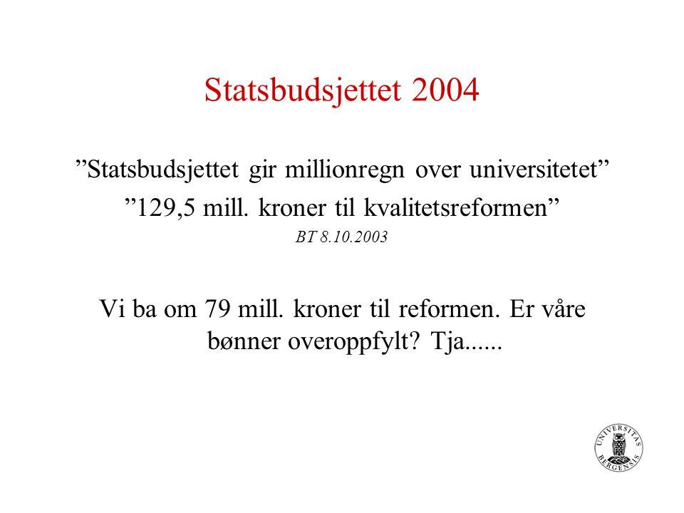 """Statsbudsjettet 2004 """"Statsbudsjettet gir millionregn over universitetet"""" """"129,5 mill. kroner til kvalitetsreformen"""" BT 8.10.2003 Vi ba om 79 mill. kr"""