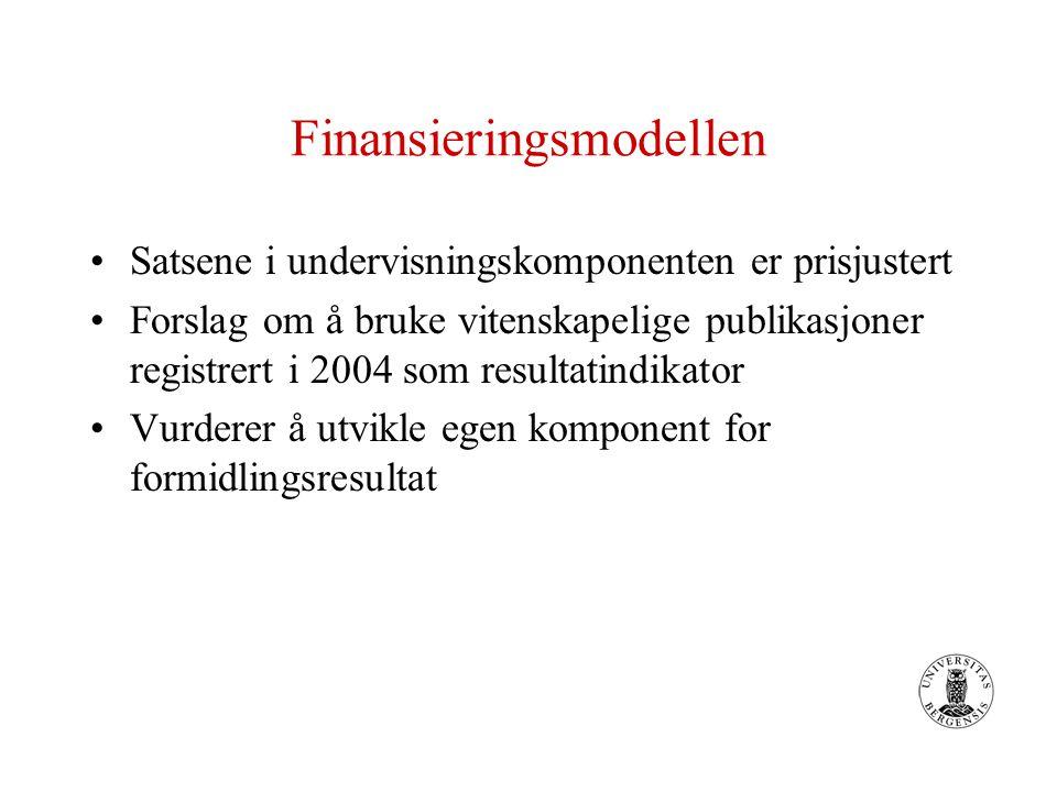 Finansieringsmodellen Satsene i undervisningskomponenten er prisjustert Forslag om å bruke vitenskapelige publikasjoner registrert i 2004 som resultatindikator Vurderer å utvikle egen komponent for formidlingsresultat