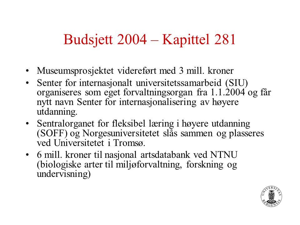 Budsjett 2004 – Kapittel 281 Museumsprosjektet videreført med 3 mill. kroner Senter for internasjonalt universitetssamarbeid (SIU) organiseres som ege
