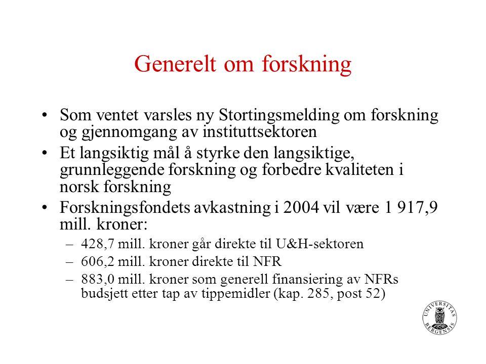 Generelt om forskning Som ventet varsles ny Stortingsmelding om forskning og gjennomgang av instituttsektoren Et langsiktig mål å styrke den langsiktige, grunnleggende forskning og forbedre kvaliteten i norsk forskning Forskningsfondets avkastning i 2004 vil være 1 917,9 mill.