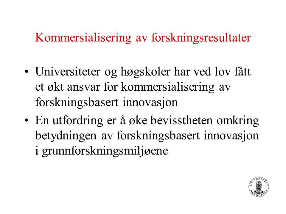 Kommersialisering av forskningsresultater Universiteter og høgskoler har ved lov fått et økt ansvar for kommersialisering av forskningsbasert innovasjon En utfordring er å øke bevisstheten omkring betydningen av forskningsbasert innovasjon i grunnforskningsmiljøene