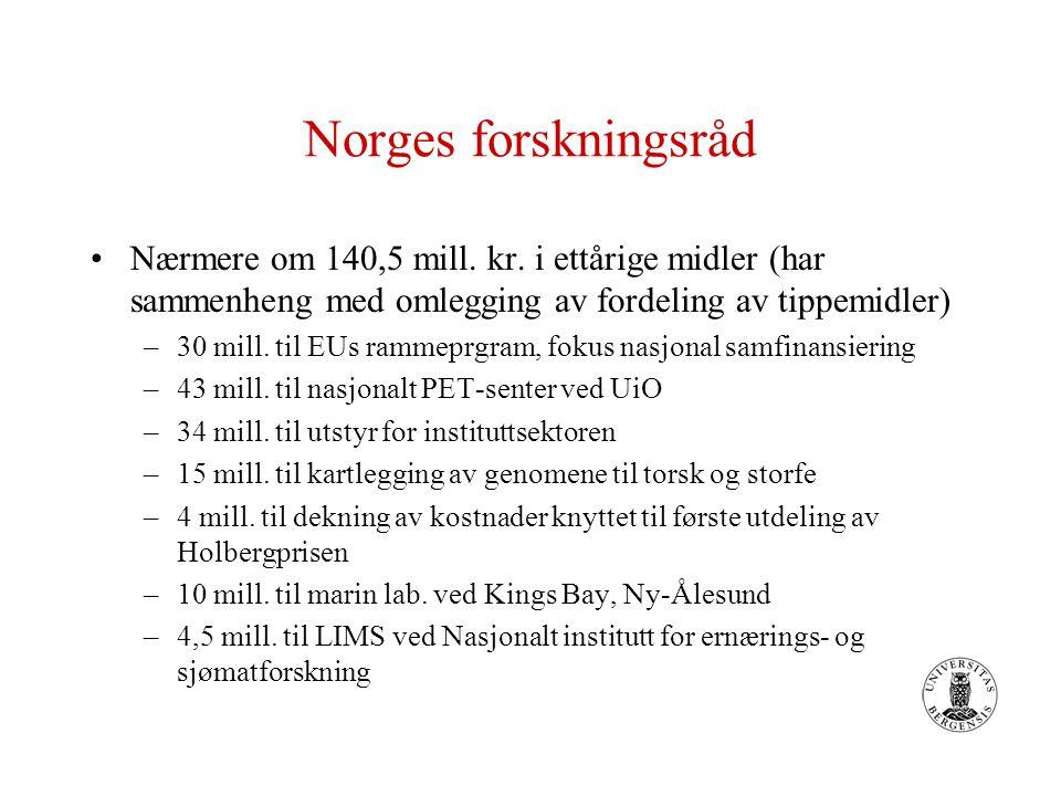 Norges forskningsråd Nærmere om 140,5 mill. kr. i ettårige midler (har sammenheng med omlegging av fordeling av tippemidler) –30 mill. til EUs rammepr