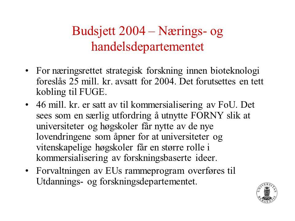 Budsjett 2004 – Nærings- og handelsdepartementet For næringsrettet strategisk forskning innen bioteknologi foreslås 25 mill. kr. avsatt for 2004. Det