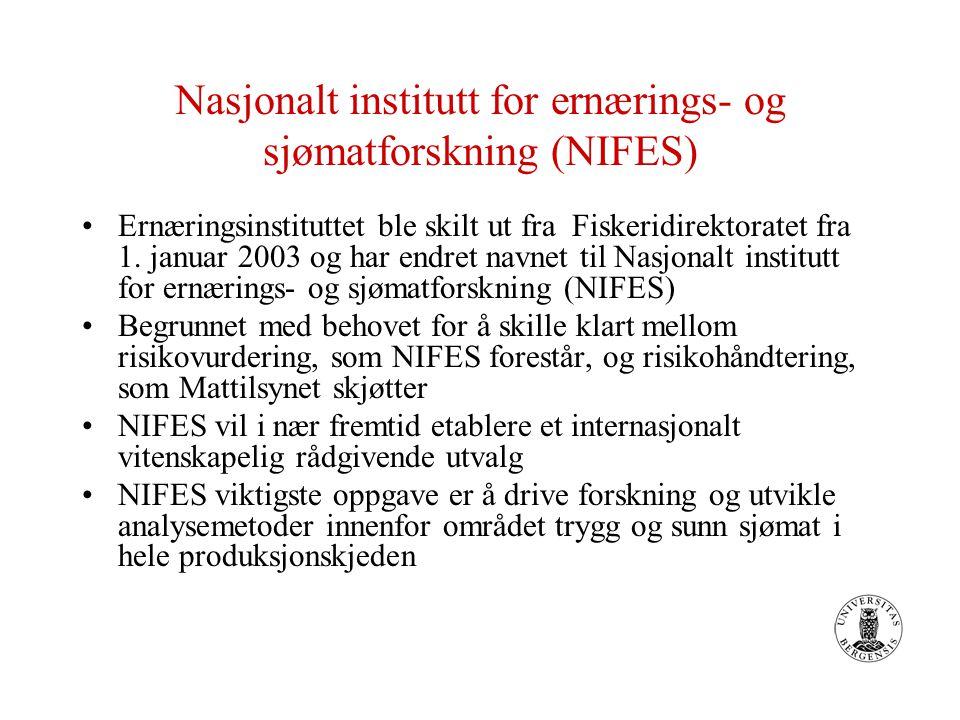 Nasjonalt institutt for ernærings- og sjømatforskning (NIFES) Ernæringsinstituttet ble skilt ut fra Fiskeridirektoratet fra 1. januar 2003 og har endr