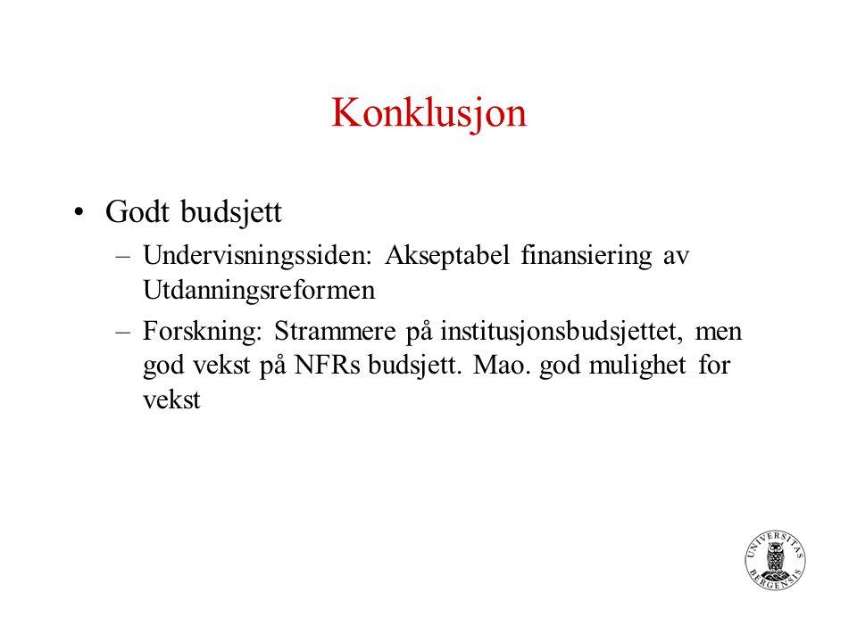 Konklusjon Godt budsjett –Undervisningssiden: Akseptabel finansiering av Utdanningsreformen –Forskning: Strammere på institusjonsbudsjettet, men god vekst på NFRs budsjett.
