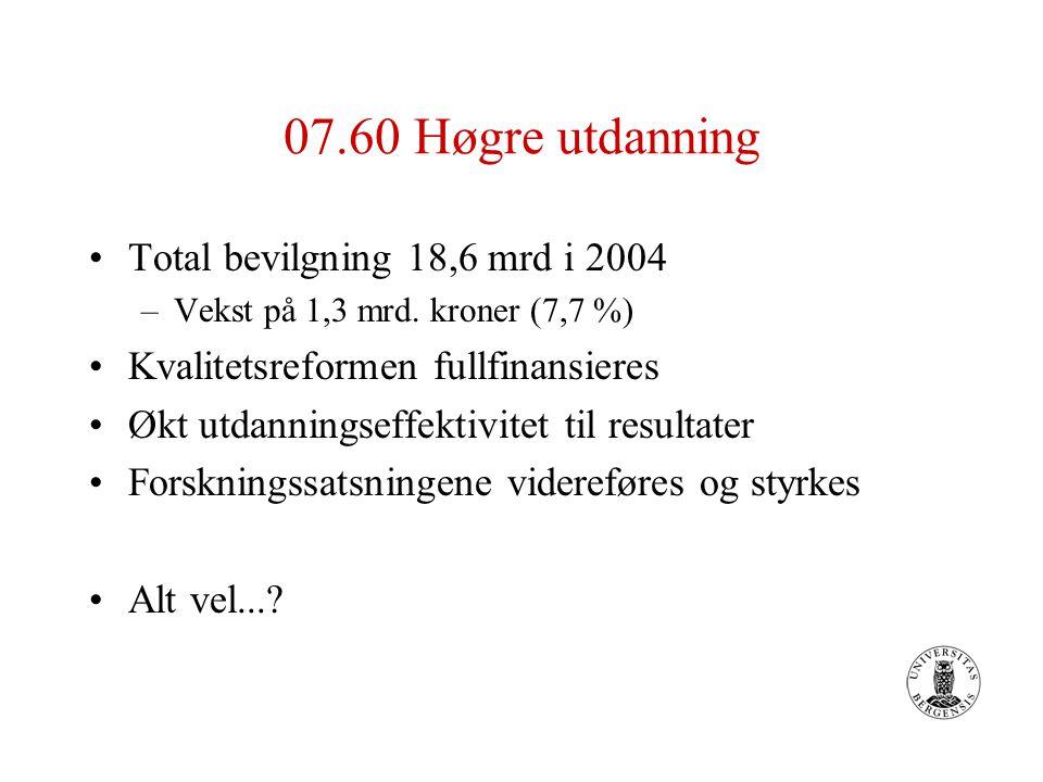 07.60 Høgre utdanning Total bevilgning 18,6 mrd i 2004 –Vekst på 1,3 mrd. kroner (7,7 %) Kvalitetsreformen fullfinansieres Økt utdanningseffektivitet