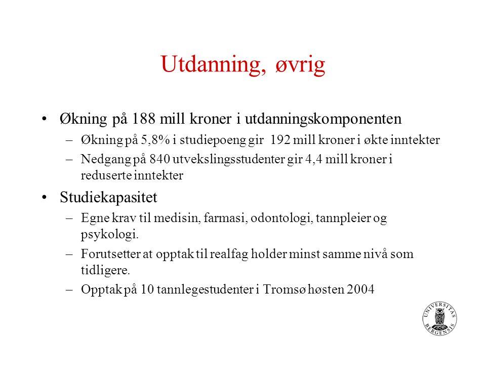 Norges forskningsråd Den nasjonale konkurransen om forsknings- midlene blir hardere Prøveordning med internasjonal konkurranse om NFR-midler Styrking av norsk innsats i EUs 6.