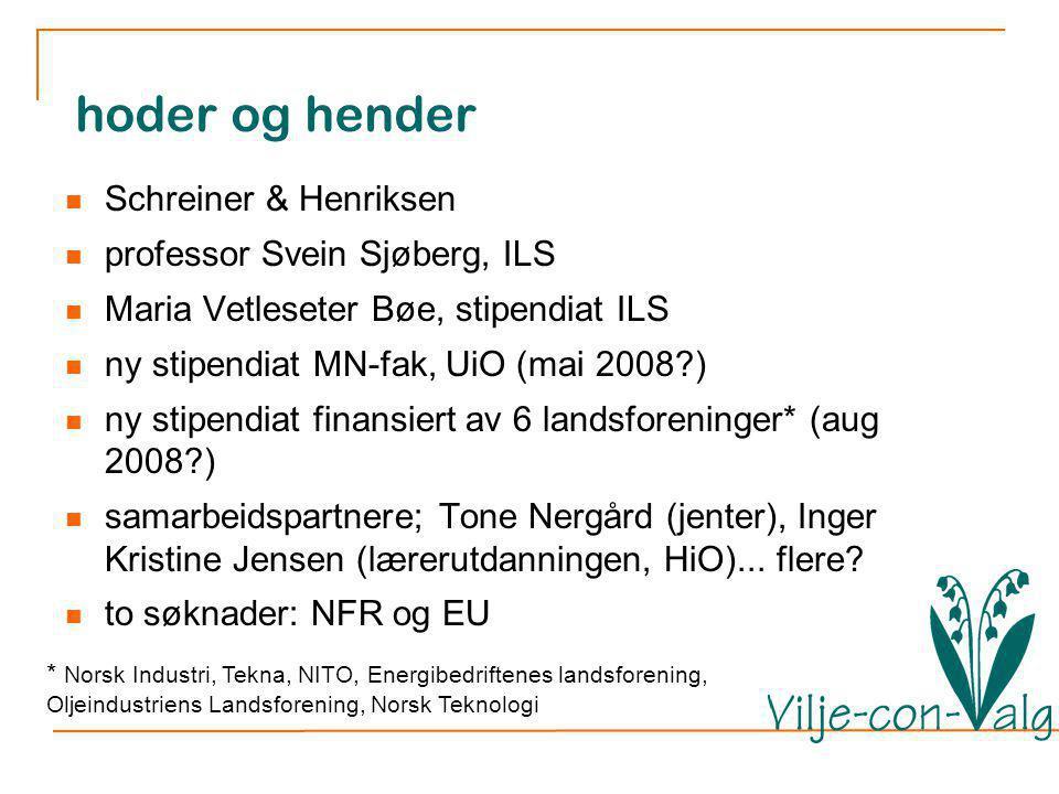 hoder og hender Schreiner & Henriksen professor Svein Sjøberg, ILS Maria Vetleseter Bøe, stipendiat ILS ny stipendiat MN-fak, UiO (mai 2008?) ny stipendiat finansiert av 6 landsforeninger* (aug 2008?) samarbeidspartnere; Tone Nergård (jenter), Inger Kristine Jensen (lærerutdanningen, HiO)...