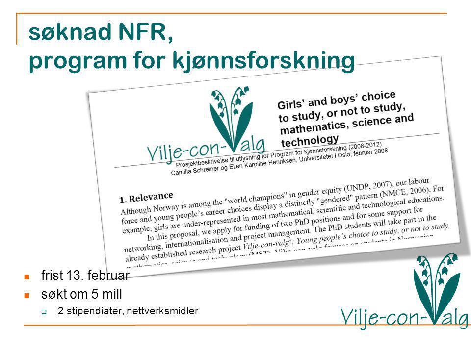 søknad NFR, program for kjønnsforskning frist 13.