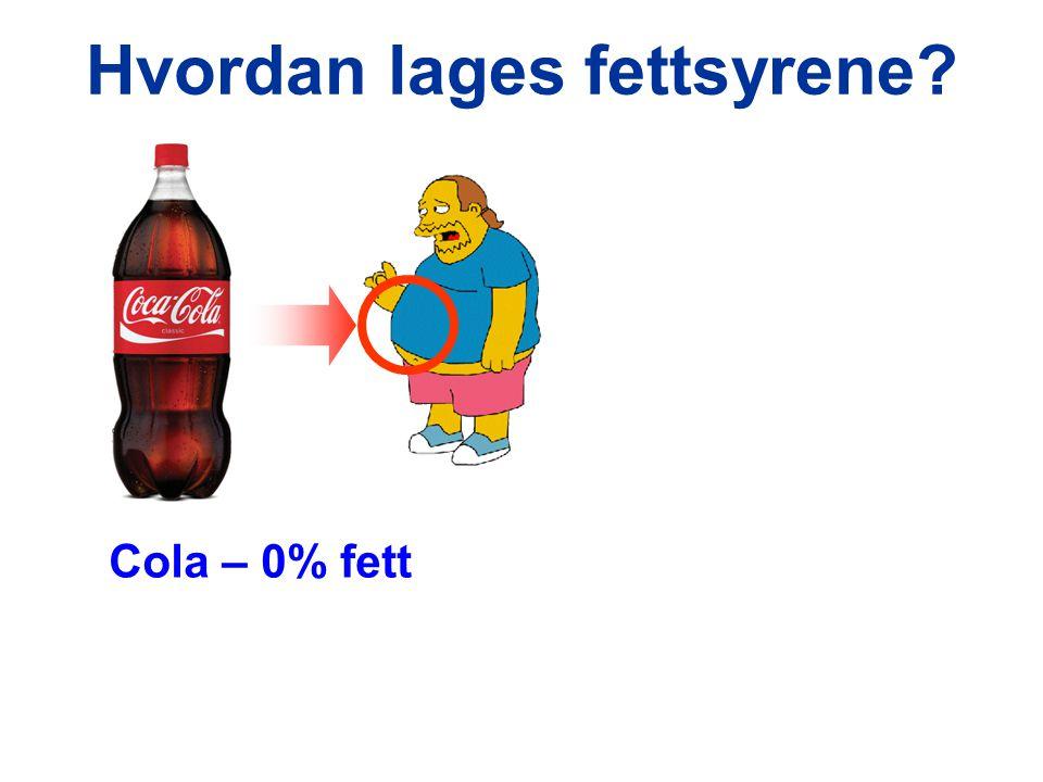 Hvordan lages fettsyrene? Cola – 0% fett