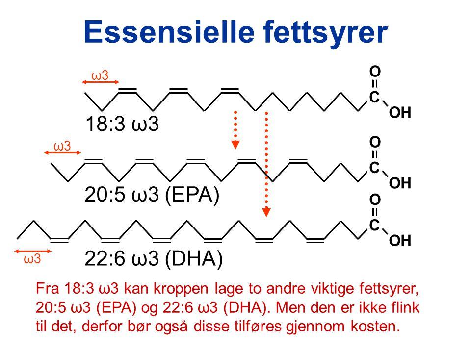 C OH O 18:3 ω3 ω3ω3 Essensielle fettsyrer C OH O 20:5 ω3 (EPA) ω3ω3 C OH O 22:6 ω3 (DHA) ω3ω3 Fra 18:3 ω3 kan kroppen lage to andre viktige fettsyrer, 20:5 ω3 (EPA) og 22:6 ω3 (DHA).