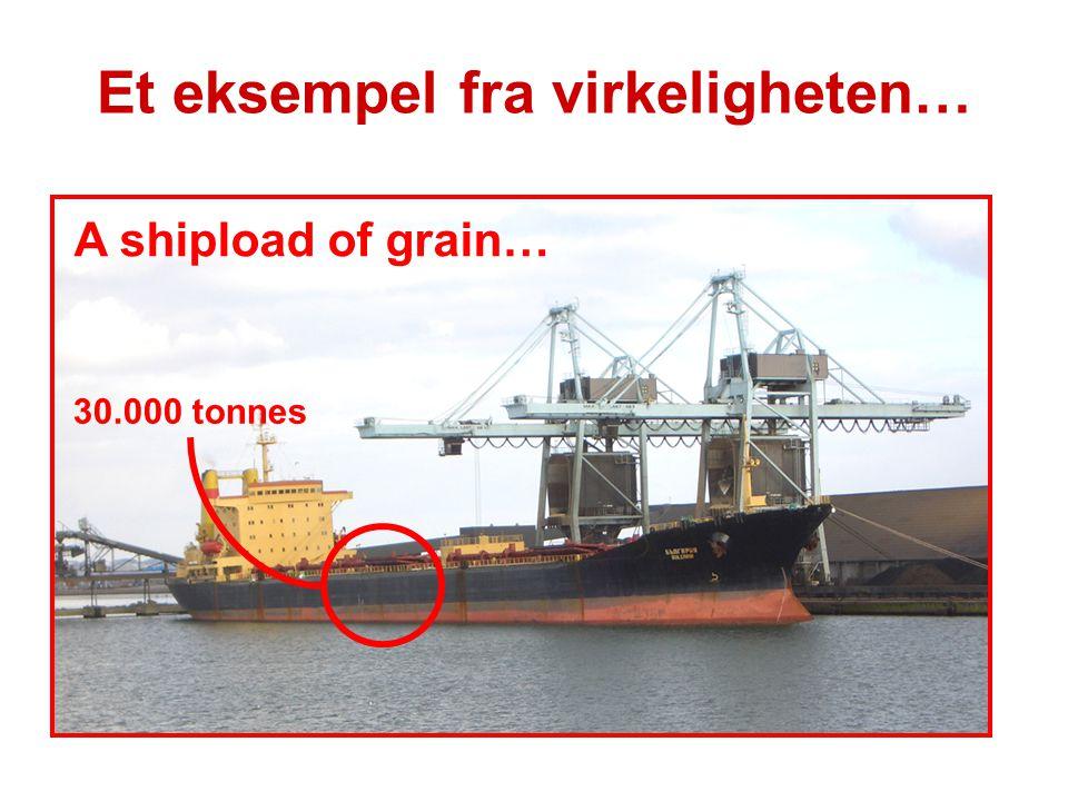 Et eksempel fra virkeligheten… A shipload of grain… 30.000 tonnes