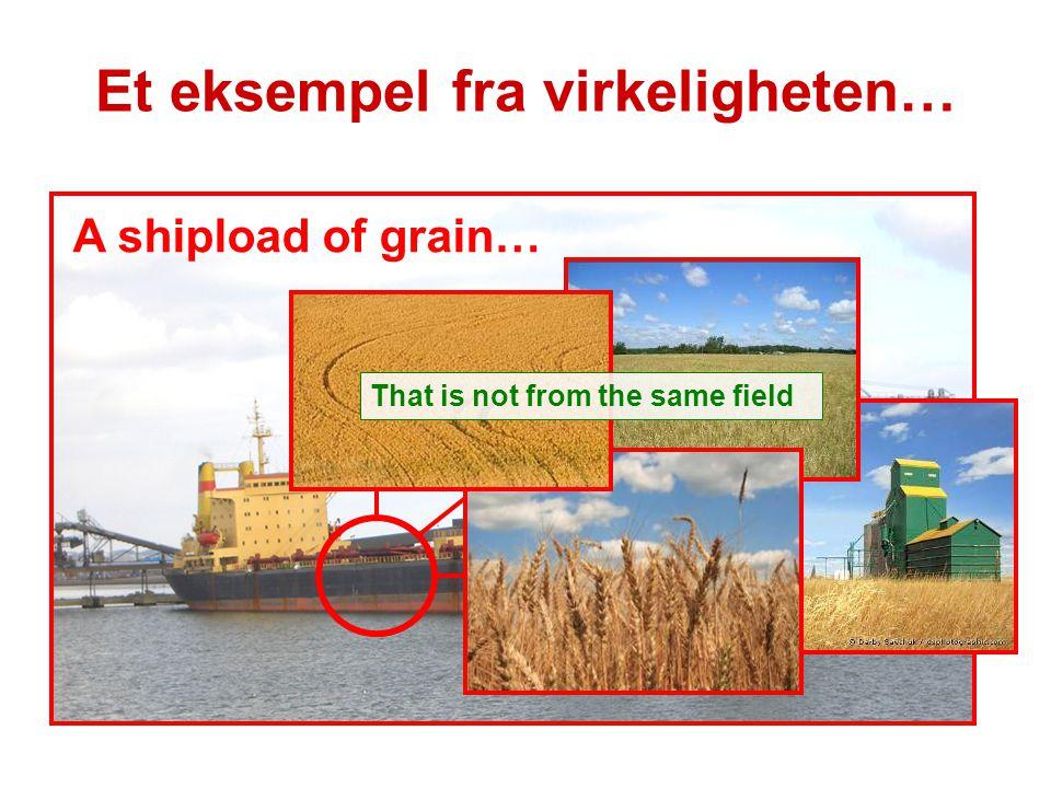 A shipload of grain… That is not from the same field Et eksempel fra virkeligheten…