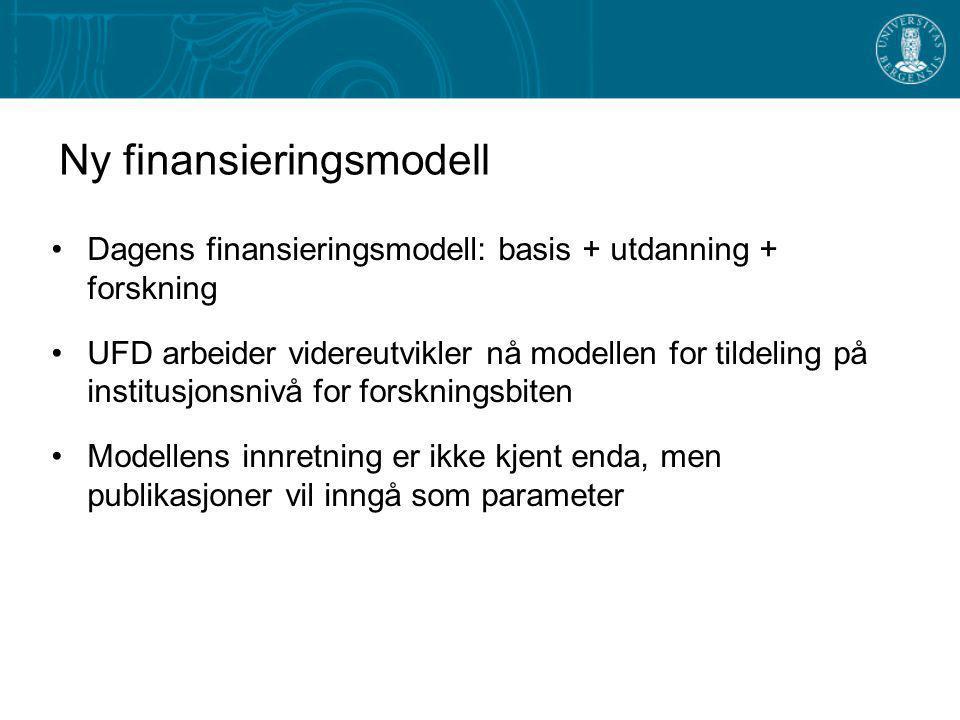 Ny finansieringsmodell - Forskning Insentivdelen: –Doktorgradskandidater vekt 0,3 –EU-tildelinger vekt 0,03 –NFR-tildelinger vekt 0,17 –Hovedfags-, mastergrads- og profesjonskandidater vekt 0,1 –Førstestillinger vekt 0,4 Stor interesse i fagmiljøene for å utvikle mer raffinerte kriterier basert på publiseringsindekser og lignende –At dette ønsket nå kommer fra fagmiljøene gir håp om at det kan utvikles bedre indikatorer