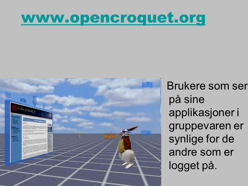 www.opencroquet.org Brukere som ser på sine applikasjoner i gruppevaren er synlige for de andre som er logget på.
