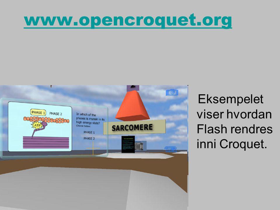 www.opencroquet.org Eksempelet viser hvordan Flash rendres inni Croquet.