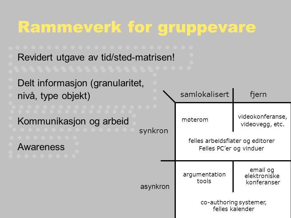 Rammeverk for gruppevare Revidert utgave av tid/sted-matrisen.