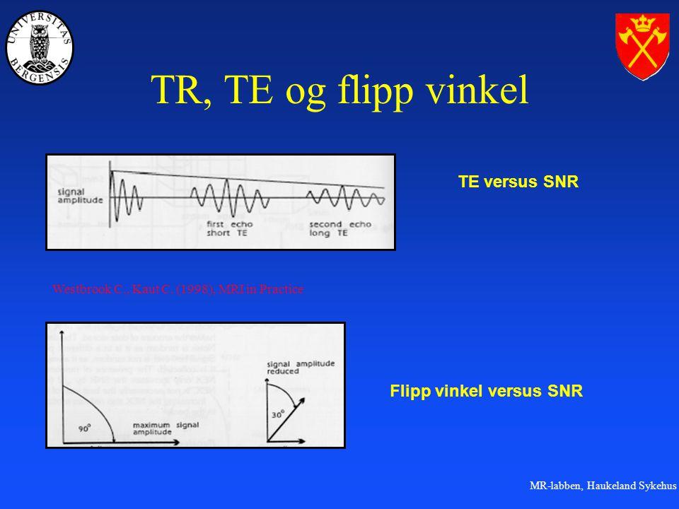 MR-labben, Haukeland Sykehus TR, TE og flipp vinkel TE versus SNR Flipp vinkel versus SNR Westbrook C., Kaut C.