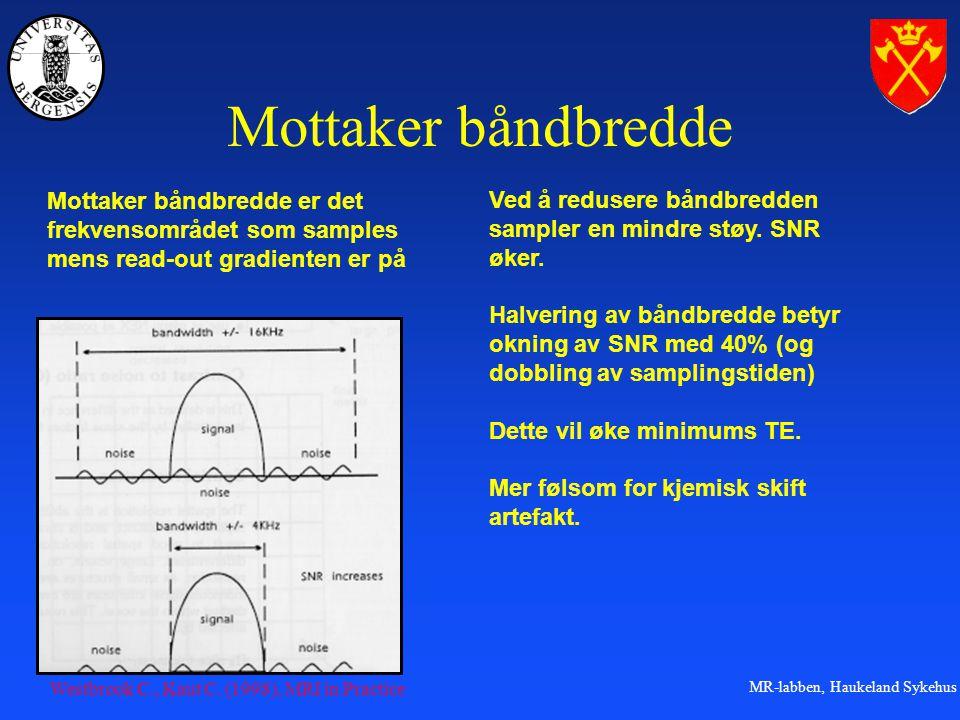 MR-labben, Haukeland Sykehus Mottaker båndbredde Ved å redusere båndbredden sampler en mindre støy.