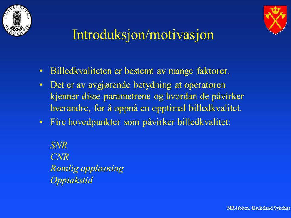 MR-labben, Haukeland Sykehus Introduksjon/motivasjon Billedkvaliteten er bestemt av mange faktorer.