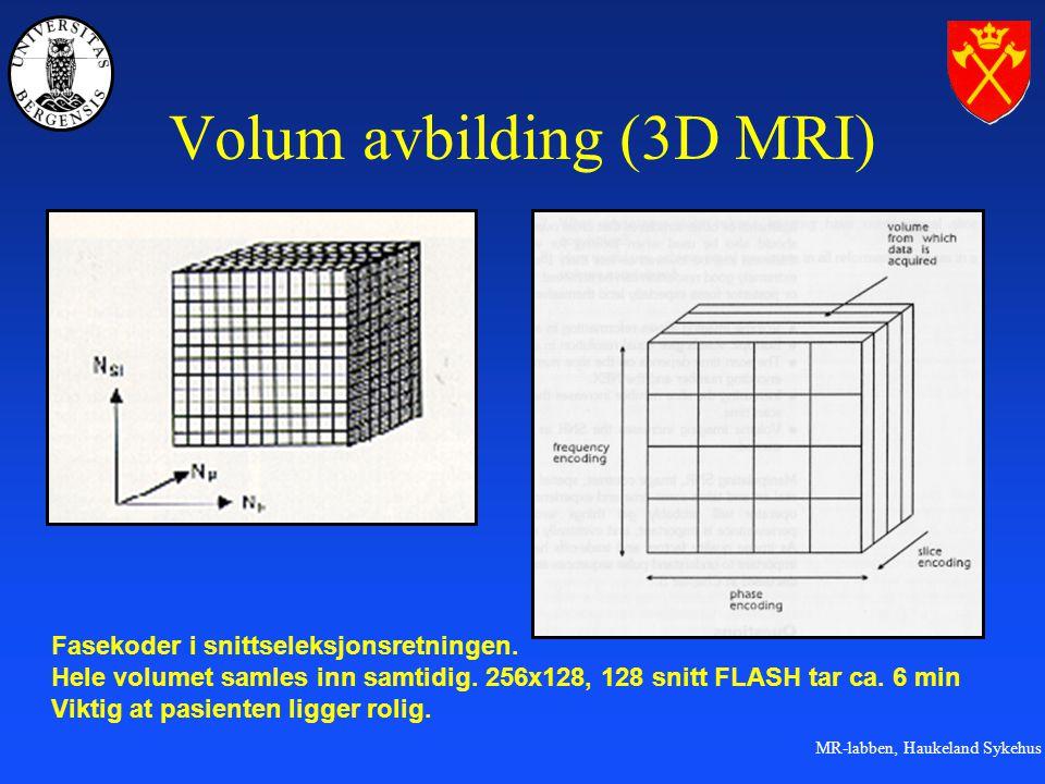 MR-labben, Haukeland Sykehus Volum avbilding (3D MRI) Fasekoder i snittseleksjonsretningen.