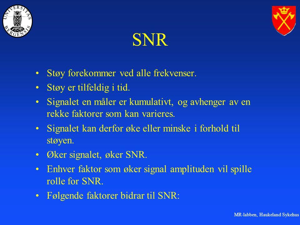 MR-labben, Haukeland Sykehus SNR Støy forekommer ved alle frekvenser.