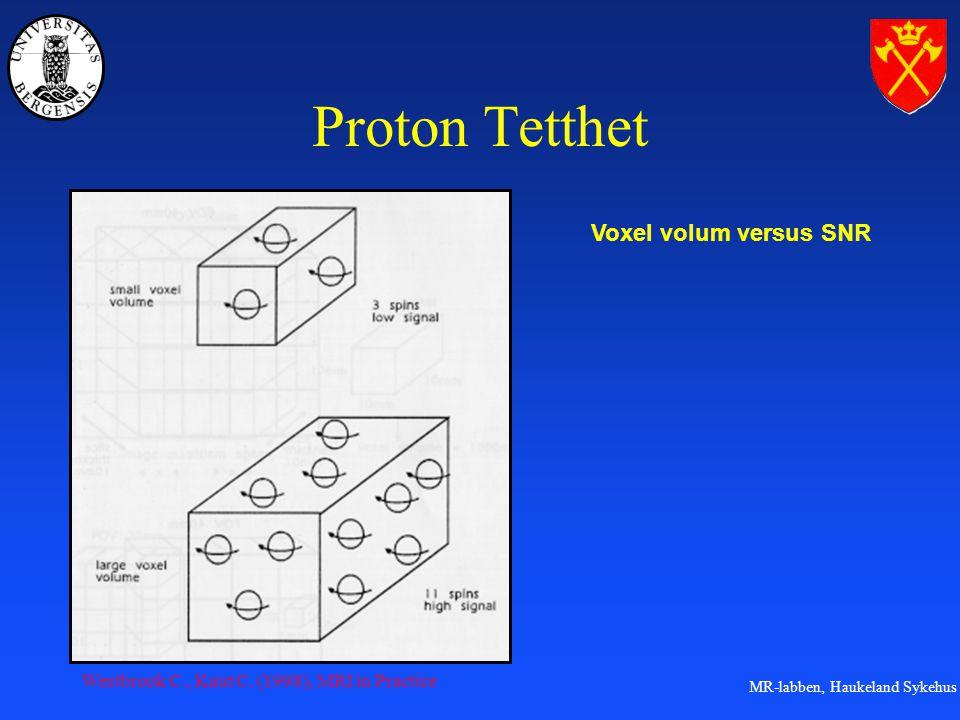 MR-labben, Haukeland Sykehus Proton Tetthet Voxel volum versus SNR Westbrook C., Kaut C.
