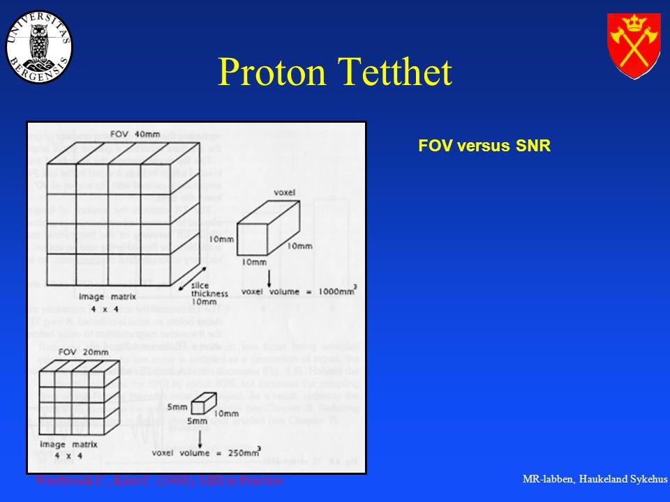 MR-labben, Haukeland Sykehus Proton Tetthet FOV versus SNR Westbrook C., Kaut C.
