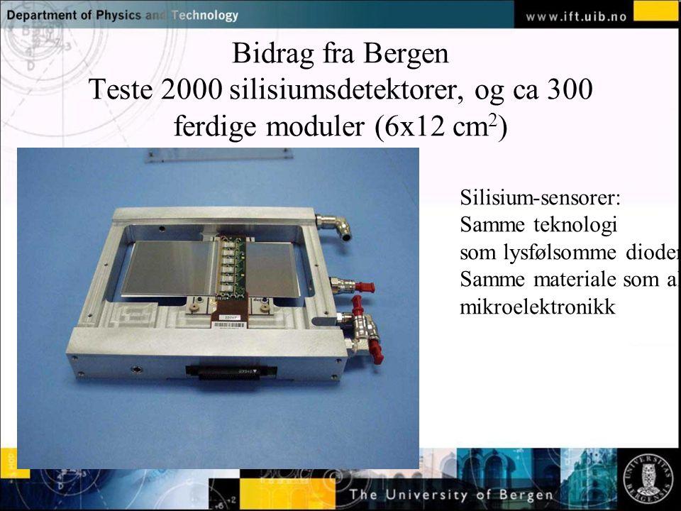 Normal text - click to edit Bidrag fra Bergen Teste 2000 silisiumsdetektorer, og ca 300 ferdige moduler (6x12 cm 2 ) Silisium-sensorer: Samme teknologi som lysfølsomme dioder Samme materiale som all mikroelektronikk