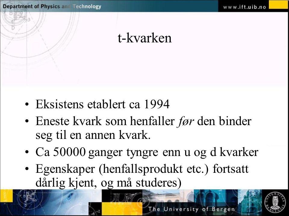 Normal text - click to edit t-kvarken Eksistens etablert ca 1994 Eneste kvark som henfaller før den binder seg til en annen kvark.