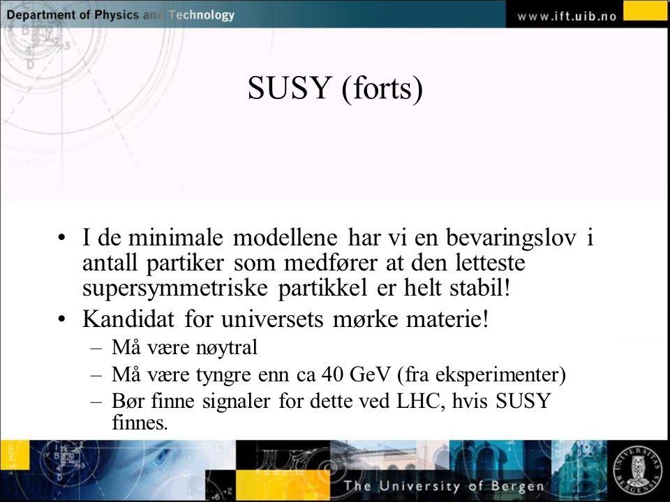 Normal text - click to edit SUSY (forts) I de minimale modellene har vi en bevaringslov i antall partiker som medfører at den letteste supersymmetriske partikkel er helt stabil.