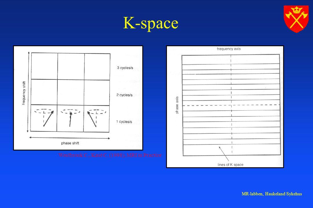 MR-labben, Haukeland Sykehus K-space Westbrook C., Kaut C. (1998), MRI in Practice