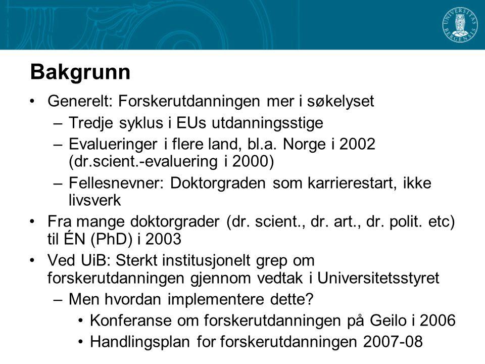 Bakgrunn Generelt: Forskerutdanningen mer i søkelyset –Tredje syklus i EUs utdanningsstige –Evalueringer i flere land, bl.a.