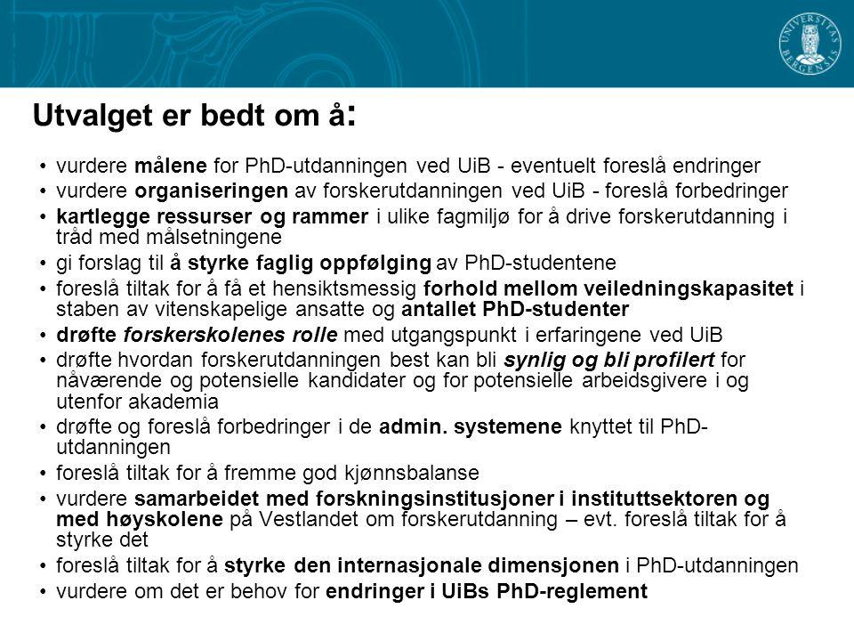 Utvalget er bedt om å : vurdere målene for PhD-utdanningen ved UiB - eventuelt foreslå endringer vurdere organiseringen av forskerutdanningen ved UiB - foreslå forbedringer kartlegge ressurser og rammer i ulike fagmiljø for å drive forskerutdanning i tråd med målsetningene gi forslag til å styrke faglig oppfølging av PhD-studentene foreslå tiltak for å få et hensiktsmessig forhold mellom veiledningskapasitet i staben av vitenskapelige ansatte og antallet PhD-studenter drøfte forskerskolenes rolle med utgangspunkt i erfaringene ved UiB drøfte hvordan forskerutdanningen best kan bli synlig og bli profilert for nåværende og potensielle kandidater og for potensielle arbeidsgivere i og utenfor akademia drøfte og foreslå forbedringer i de admin.