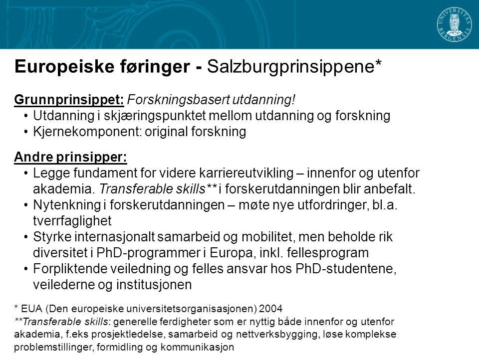 Europeiske føringer - Salzburgprinsippene* Grunnprinsippet: Forskningsbasert utdanning.