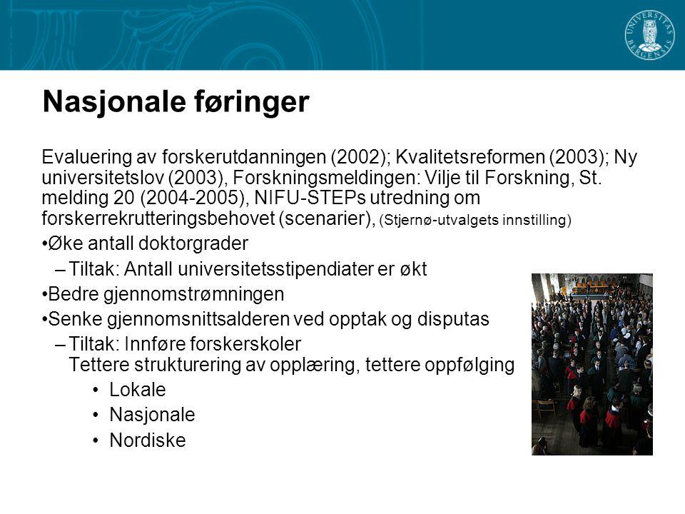Nasjonale føringer Evaluering av forskerutdanningen (2002); Kvalitetsreformen (2003); Ny universitetslov (2003), Forskningsmeldingen: Vilje til Forskning, St.