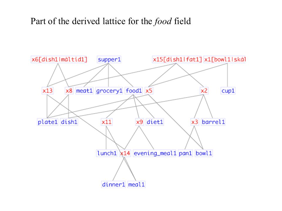 Part of the derived lattice for the food field