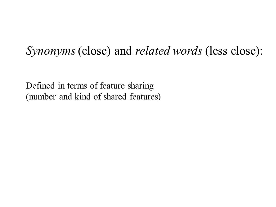 Synonyms (close) and related words (less close): Defined in terms of feature sharing (number and kind of shared features)
