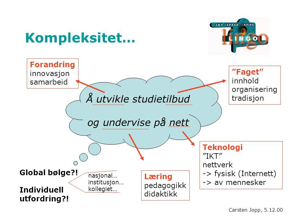 Kompleksitet… Å utvikle studietilbud og undervise på nett Forandring innovasjon samarbeid Faget innhold organisering tradisjon Teknologi IKT nettverk -> fysisk (Internett) -> av mennesker Læring pedagogikk didaktikk Global bølge .