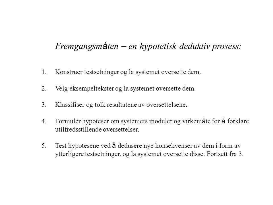 Fremgangsm å ten – en hypotetisk-deduktiv prosess: 1.Konstruer testsetninger og la systemet oversette dem.