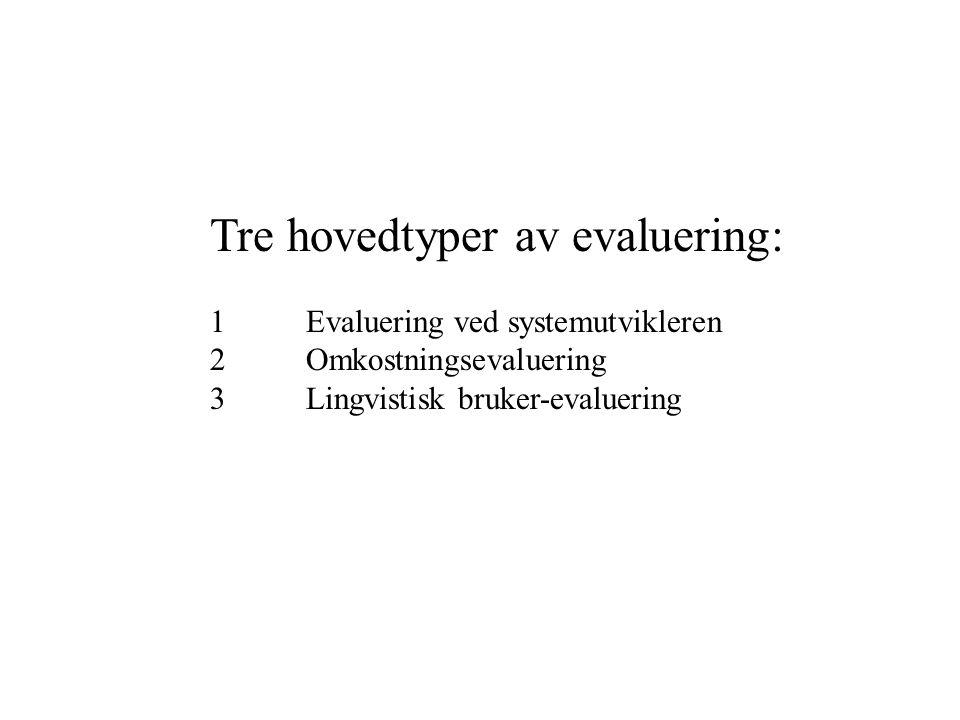 Tre hovedtyper av evaluering: 1Evaluering ved systemutvikleren 2Omkostningsevaluering 3Lingvistisk bruker-evaluering