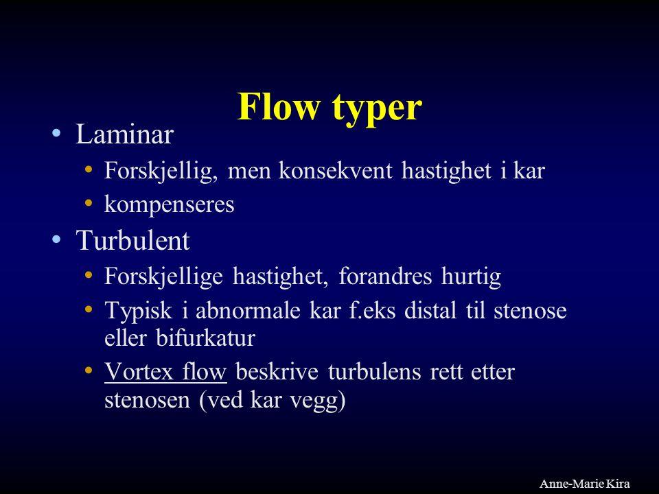 Flow typer Laminar Forskjellig, men konsekvent hastighet i kar kompenseres Turbulent Forskjellige hastighet, forandres hurtig Typisk i abnormale kar f
