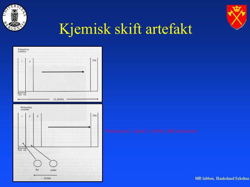 MR-labben, Haukeland Sykehus Kjemisk skift artefakt Westbrook C., Kaut C. (1998), MRI in Practice