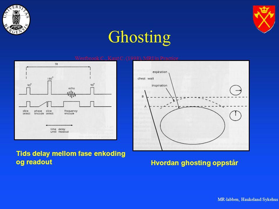MR-labben, Haukeland Sykehus Ghosting Hvordan ghosting oppstår Tids delay mellom fase enkoding og readout Westbrook C., Kaut C.